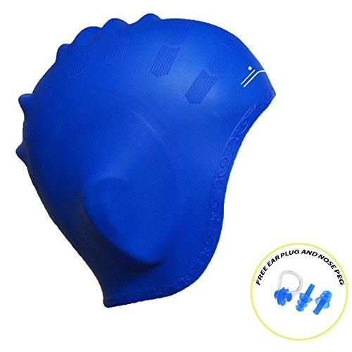 TILZ SWIMGEAR Neue verbesserte Silikon-Badekappe für Frauen und Männer - langes Haar, dick oder kurz - durchschnittliche / große Köpfe - mit ergonomischen Ohrtaschen, Ohren zu bedecken - Anti-Tear - stärker als Latex Swim Hats - 100% Zufriedenheit Geld-Zurück-Garantie - KOSTENLOS Ohrstöpsel und Nasenclip enthalten (Blau)