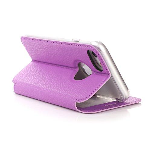 """iPhone 7 (4.7"""") Etui Coque, SHANGRUN PU Cuir Housse Coque Fenêtre d'ouverture Case Flip Cas de Protection Portable Skin View Window Etui Cover pour iphone 7 (4.7"""") Bleu Violet"""