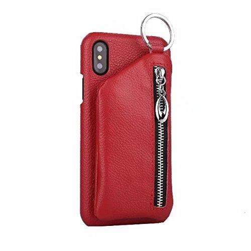 MiusiCase iPhone X Fall, iPhone X Mappenkasten 2-in-1 Abnehmbare Zurückreißverschlusstasche Und Echtes Leder Telefon Rückseitige Abdeckung Für Apple iPhone X 5.8