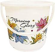 Kuber Industries Floral Print Unbreakable Strong Plastic Bathroom Bucket 16 LTR (White) -CTKTC134880