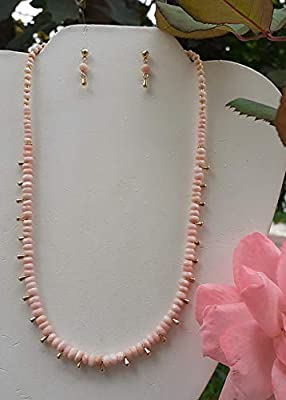 Peruvian opal. Set of necklace and earrings, Handmade, Semiprecious stones. Made in Mexico