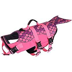 Petacc Chaleco Salvavidas para Perros Capa de Flotación Mascotas Chaqueta Salvavidas para Perros, Estilo Sirena, Rosa, S