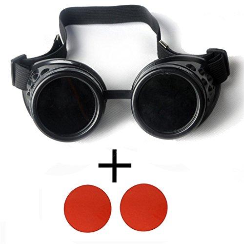 AFUT Steampunk Schutzbrille Viktorianisch Schweißen Rollenspiel Rot Linse