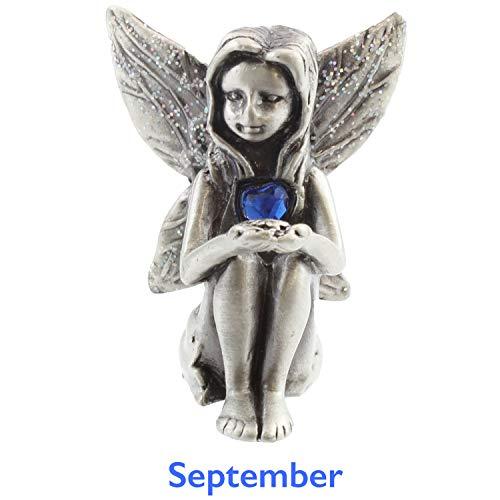 Viceni - Figura de Hada, de Peltre, con Piedra de Nacimiento de septiembre, de la colección de cumpleaños