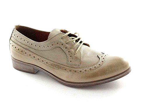 Divine Follie 14383 Taupe Scarpe Donna berby Lacci Puntale Inglese Beige