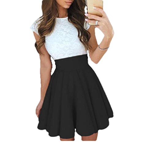 Aooword Women Belted Design Flare Cap Sleeve Summer Lace Stiching Dress Black XS Black 3/4 Sleeve Belted
