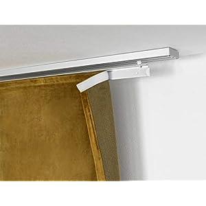 Gardinenbox 1er Pack 60 cm Paneelwagen aus Aluminium für Flächenvorhang incl.Beschwerungsstange Rollen- und X-Gleiter…