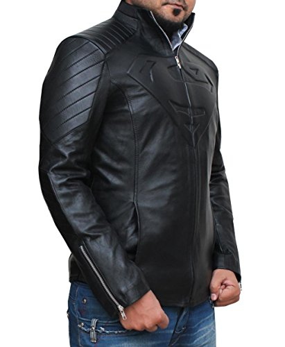 Men's Superhero Superman Smallville Real Leather Jacket Black - Superhero Hommes Superman Smallville Veste en cuir véritable Noir Noir