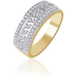 V. K. Jewels Sparkle Gold And Rhodium Plated Ring For Women - Fr1119G Size 14 [Vkfr1119G14]