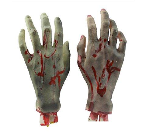 (Kodoria Horror Bloody Realistische gefälschte gebrochene Hand Körperteile Streich Trick Halloween Party Requisiten - Ein Paar)