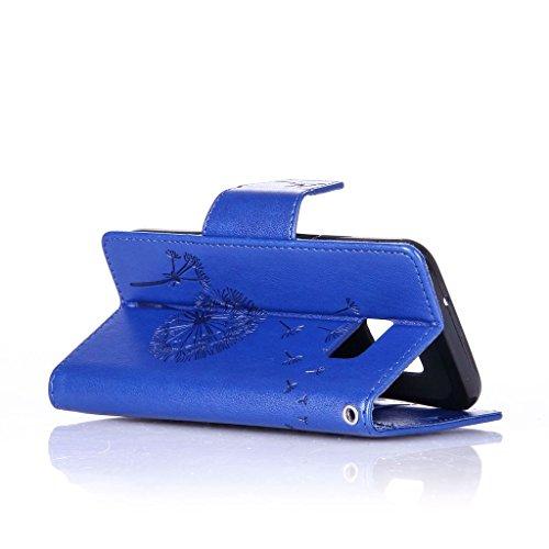 Uming® Muster Druck PU Kasten Fall Holster Abdeckung Hülle Case ( Diamond Embossing Dandelion Gold - für IPhone 6 6S IPhone6S IPhone6 ) Artificial Künstlich Flip mit Bracket Standplatz Stander Halter  Diamond Embossing Dandelion Blue