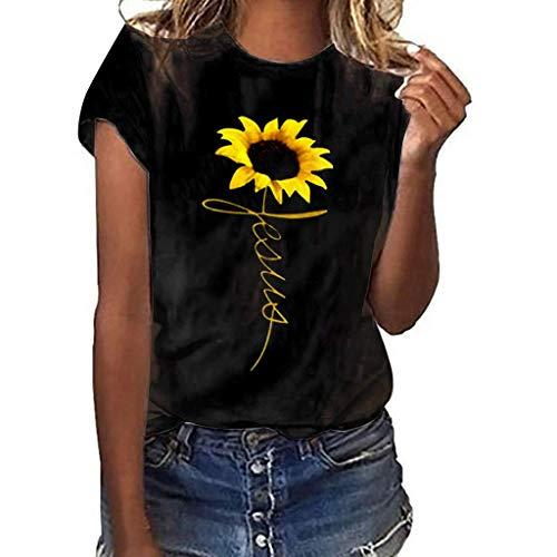 CixNy Damen Kurzarm T-Shirt Sommer Einfarbig Plus Size Sunflower Print Tops Frauen Weste Bluse Oberteile Blau Grau Rot Schwarz Weiß S-XXXL