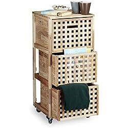 Relaxdays Meuble à roulettes 3 caisses compartiments bois de noyer HlP: 91,5 x 40,4 x 40,4 cm tiroirs linge cuisine salle de bain chambre caisson sur roulettes, couleur naturelle