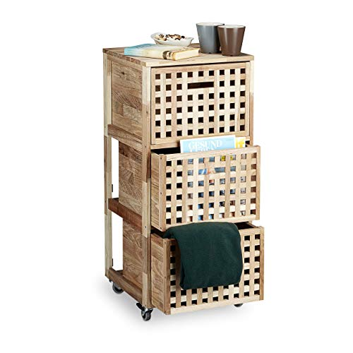 Relaxdays Rollcontainer Holz mit 3 Fächern Walnuss HBT: ca. 91,5 x 40,4 x 40,4 cm Utensilienwagen Rollregal Wäschebox Holz Schrank rollbarer Schubladenschrank, natur