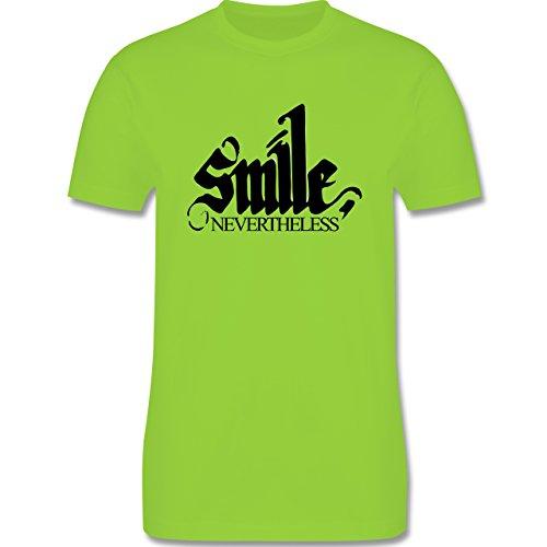 Statement Shirts - Lächle trotzdem - smile nevertheless - Herren Premium T-Shirt Hellgrün
