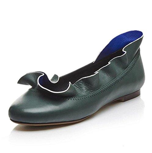 feminines-plein-cuir-lexterieur-du-lotus-leaf-bord-peu-profonde-bouche-chaussures-dark-green-37