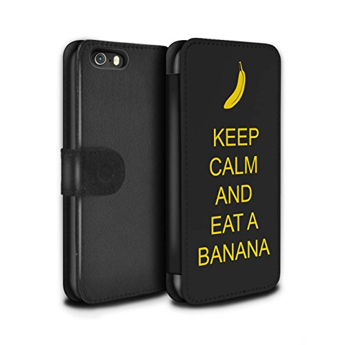Stuff4 Coque/Etui/Housse Cuir PU Case/Cover pour Apple iPhone 5/5S / Continuer/Bordeaux Design / Reste Calme Collection Manger une Banane/Jaune