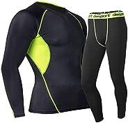Ropa Térmica para Niños, Camiseta Manga Larga + Pantalones Deporte Entrenamiento Ropa Interior Compresión Seca