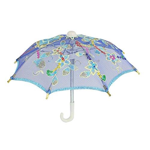 sourcingmap® Mini Spitze Regenschirm Kinder Indigo Blau gestickte Blumenmuster Hochzeit