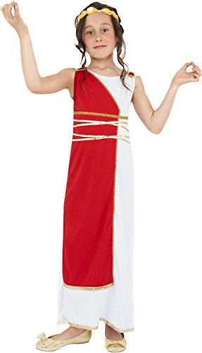 Smiffy's Children's Grecian Girl Costume, Robe & Headpiece, Ages 7-9, Colour:Red, 38775