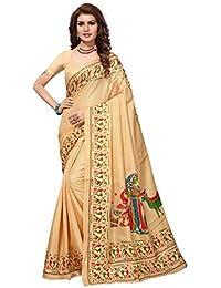 JENCY FASHION Kalamkari Silk Saree With Blouse (CREAM)