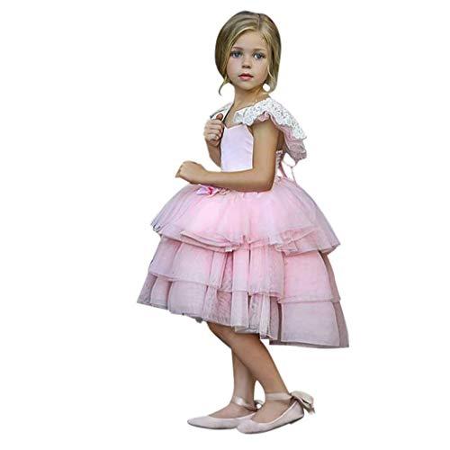 Tabelle Kostüm Eine Kopf Den Auf - Julhold Kleinkind Kind Baby Mädchen Elegant Kurzarm Spitze Blumen Patchwork Schlank Prinzessin Kleid Kleidung 1-5 Jahre