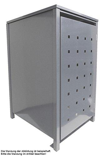 BBT@ | Hochwertige Mülltonnenbox für 1 Tonne je 120 Liter mit Klappdeckel in Silber (RAL 9006) /...