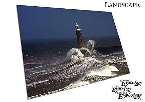 Küche & Badezimmer Banner Tynemouth Pier Leuchtturm Stein der Brandung - A4 Print Only