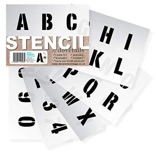 Alphabet Schablonen Buchstaben, Zahlen 0-9 4cm hohe MODERN Großbuchstaben auf 6 Blatt 20 x 14.8 cm
