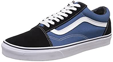 Vans Unisex Old Skool Navy Leather Leather Sneakers - 10 UK/India (44.5 EU)
