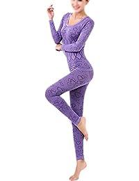 TOOGOO(R)Mujer Cuello redondo Conjunto termico Invierno Chaqueta&pantalones larga ropa interior Conjunto de Pijama Purpura