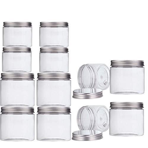 Aitsite Contenitori Plastica Trasparente 12 pezzi (6 pezzi 350 ml + 6 pezzi 150ml) Slime Contenitori Barattolo Plastica con Coperchio in Metallo
