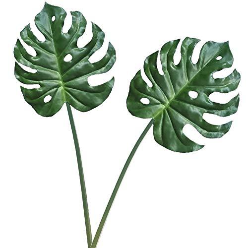 Aisamco Künstliches tropisches Palmblatt-Split-Philodendron, 2 Stücke Gefälschte Palmblätter Künstliche Pflanze Künstliches Fensterblatt Tropisches Weinrot Leathery Leaf –