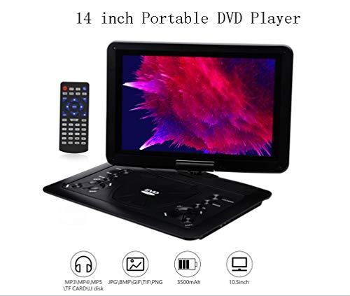 KOQIO Tragbarer DVD-Player 14-Zoll-Bildschirm, 270 ° drehbarer Bildschirm, 5 Stunden Akku, Unterstützungsformate AVI/RMVB / MP3 / JPEG, Unterstützung für USB und SD-Karte (14-zoll-dvd-player)