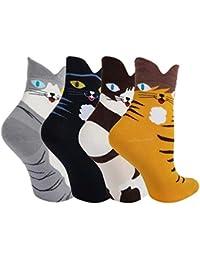 57a4754e401 Ougenni 5 paires de chaussettes de chat drôles Coffret Cadeau Animaux de  Bande Dessinée Mignons Modèle