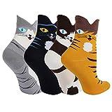 Ougenni 5 paires de chaussettes de chat drôles Coffret Cadeau Animaux de Bande...