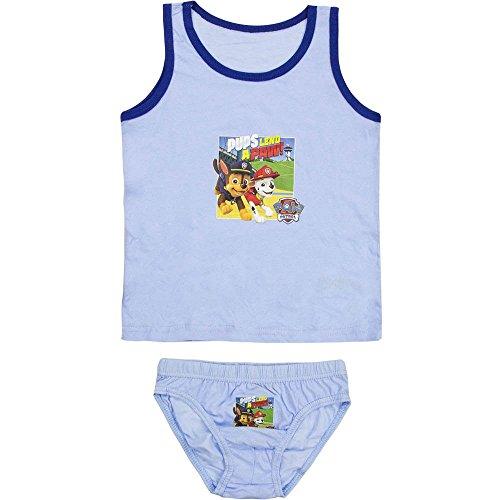 4784 Kinder Jungen Unterwäsche PAW PATROL RESCUE TEAM 2-teilig Hemd u. Unterhose (hellblau, 104-110)