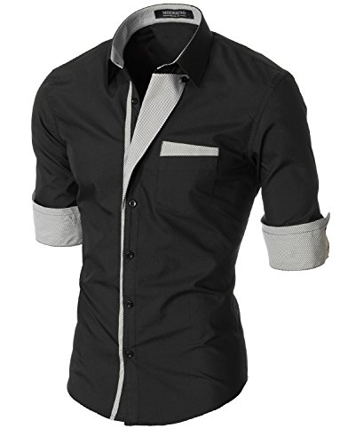 MODERNO - Slim Fit Mode Chemise Homme Manches Longues (VGDS41LS) VGDS41LS-Noir