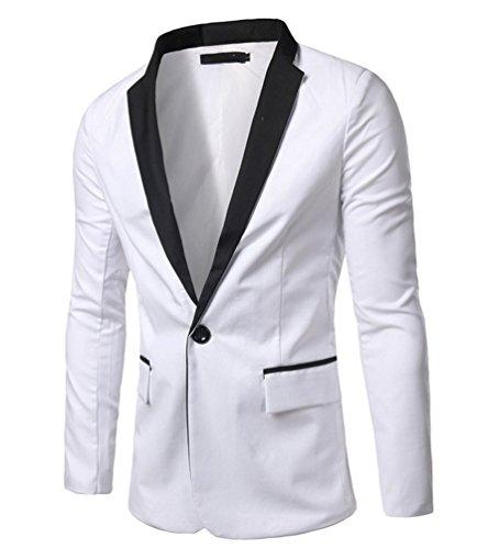 Ghope Herren Sakko Anzug Sweatjacke Jacke Classic Weiß und Schwarz Casual Blazer Slim Fit ,Weiß M (Weiss Anzug Herren)