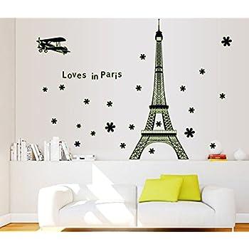 Uberlyfe Glow In Dark Eiffel Tower Skyline Wall Sticker (Wall Covering Area: 92Cm X 165Cm),Multicolor