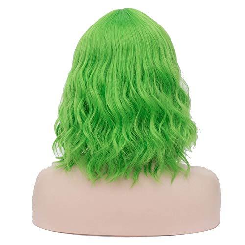 Die synthetischen Short-Perücken für Frauen lockigen Haar Aschiger Blau Perücke mit Pony-Frisur Grün Natural Hair Heat Resistant-Synthetic in None, Grün, 16inches (Meeräsche Kostüm Perücke)