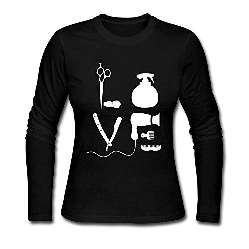 HappySL Barber Salon Hairdresser Love Women's Soft Long Sleeve Round Neck Pullover Sweatshirt Pullover Shirt Tops