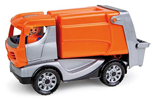 Lena 01623 - Truckies Müllwagen, stabiles Einsatz Fahrzeug ca. 22 cm, kleines Müllauto Spielfahrzeug für Kinder ab 2 Jahre, robustes Spielzeug Müllabfuhrauto für Sandkasten, Strand und Kinderzimmer