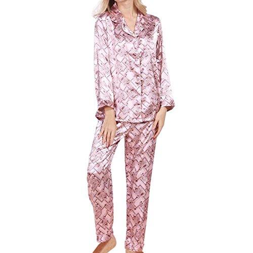 Meijunter Damen Satin Seide Pyjama-Set Lange Ärmel Nacht Kleidung Schlafanzüge 2 Stück Blumen Geometrisch Umlegekragen V-Ausschnitt Button-Down Frauen Loungewear Nachtwäsche Nachthemd (Harem Seide)
