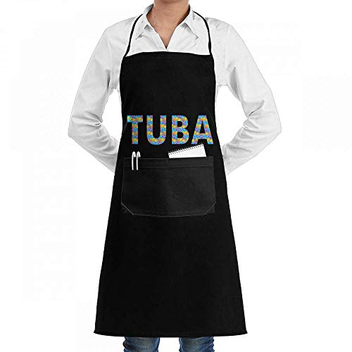 gfhfdhdfhtryh Tuba Color Blocks Music Love Professiona Adjustable Kitchen Chef Bib Apron with Pockets for Men Women