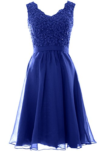 MACloth Women V Neck Vintage Lace Chiffon Short Prom Dresses Wedding Party Gown (36, Royal Blue) (Shorts Dress Lace Short)
