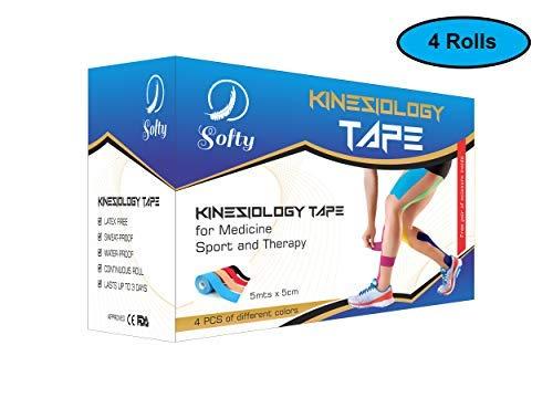 Nastro Kinesiologico, Softy, 4 Rotoli di Kinesio tape, 5cm x 5m, Vari Colori, Forbici Omaggio