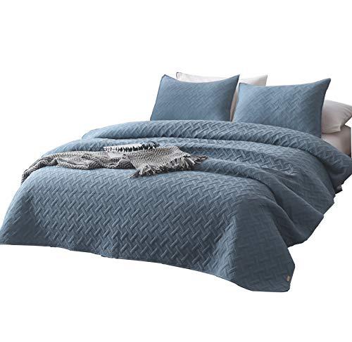 e Quilt-Bettwäsche-Set, King-Size-Doppelbett, 2 Kissenbezüge und 1 Leichter, gesteppter Schmusetuch mit einfarbiger Farbe Twin Blue-b ()