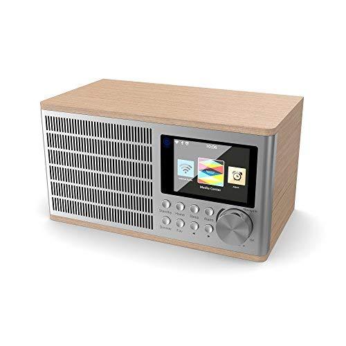 Majority Peterhouse Internetradios WiFi-Verbindung, USB Eingang/Aufladen, Aux-in, Dual Wecker und Einstellungen (Eiche)