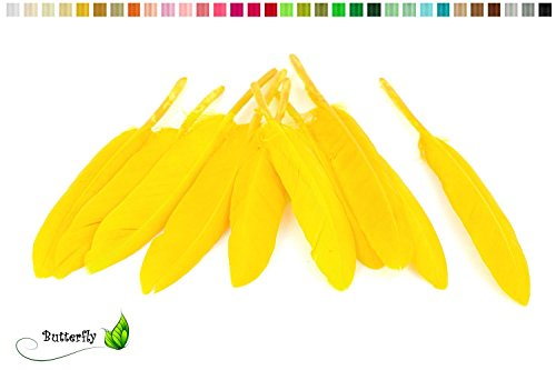 10 Indianerfedern ca. 10-15cm (gelb 645) // Dekofedern Bastelfedern Masken Federn Schmuckfedern Vogelfedern